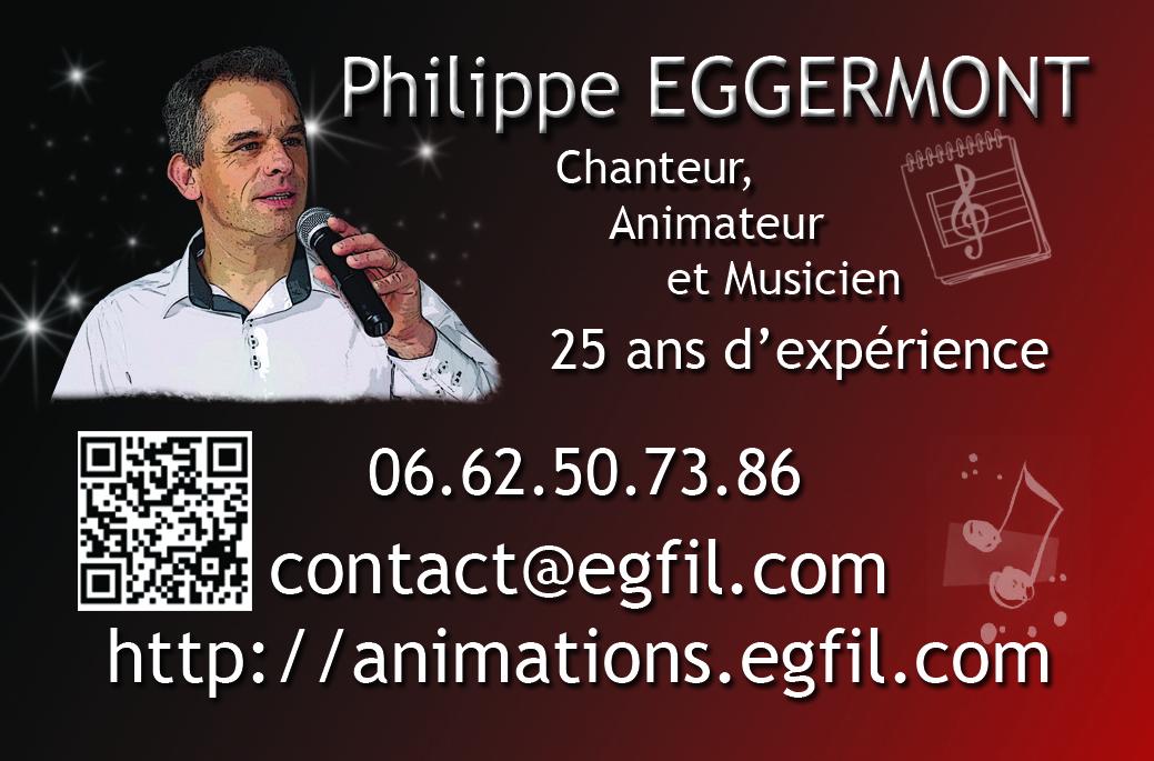 Carte De Visite DJ PHILIPPE EGGERMONT CHANTEUR ANIMATEUR