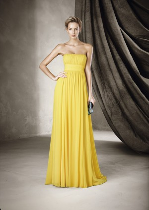 Robe cocktail couleur jaune