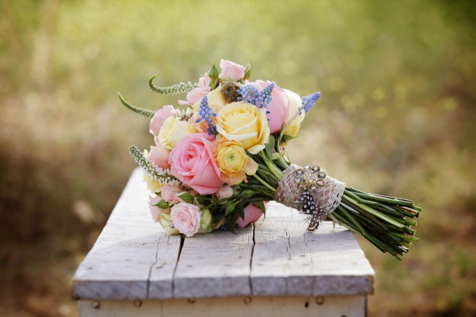 bouquet de jacinthes et roses