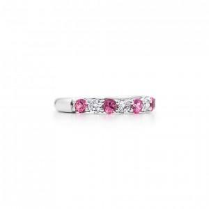 Tiffany platine saphirs rose diamants 4550e