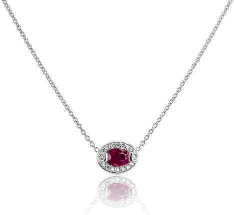 ocarat collier ovaler or blanc rubis diamant bellon 1129eu