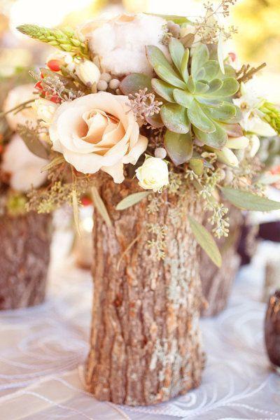 vase naturel en tronc
