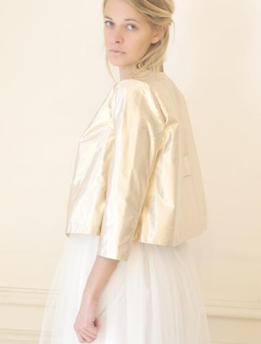 Veste Annie en soie or, Elise Hameau