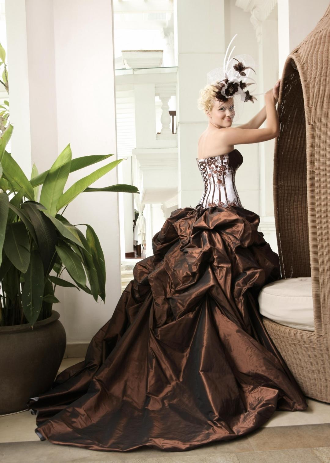 Un peu d'ivoire et beaucoup de chocolat pour cette robe de mariée à la jupe bouillonnée baptisée Vérone de la collection EmyLee 2012 de chez BGP-Company.