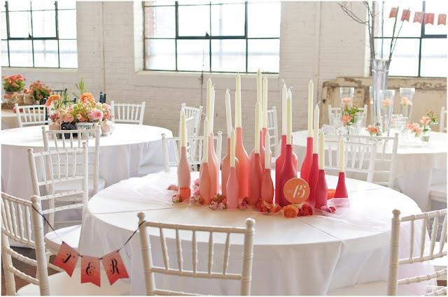 table mariage bouteilles pinterest