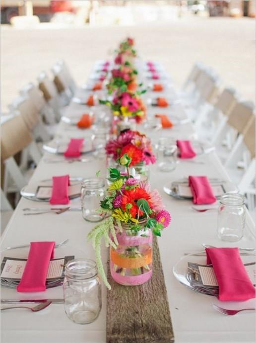 bocaux en verre centre de table roses