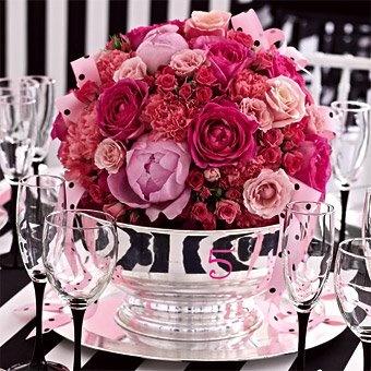 coupe en argent centre de table roses