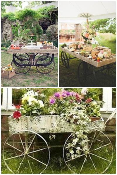 Mon mariage ambiance rustique - Roue de charette decoration ...