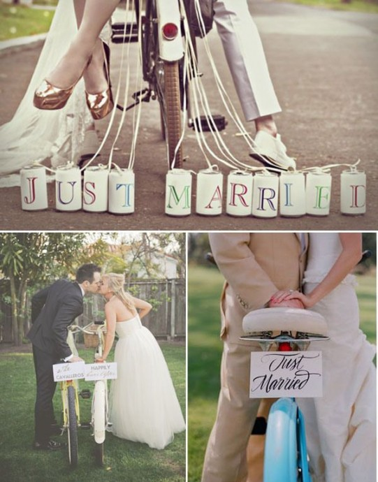 déco-vélos-mariage-just married