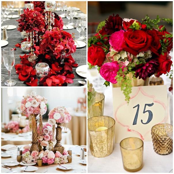 decoration mariage or et rouge