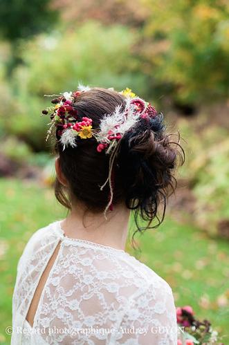 couronne fleurs mariee inspiration automne