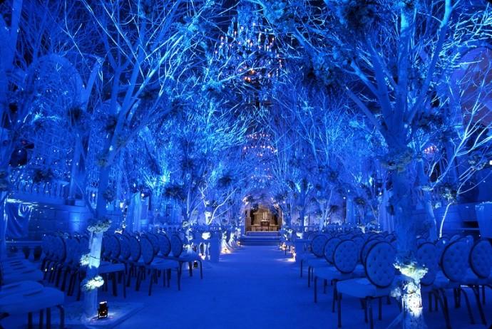 Pour une ambiance mariage hiver glacé, voici la décoration parfaite pour faire une entrée remarquable devant l'autel. Pour éviter le noir complet, on mise sur de jolis photophores disposés parterre le long de l'avenue.