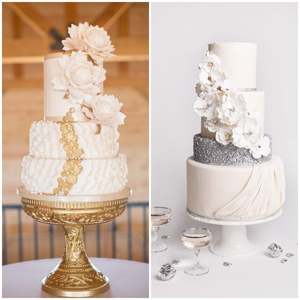 mariage or argente wedding cake