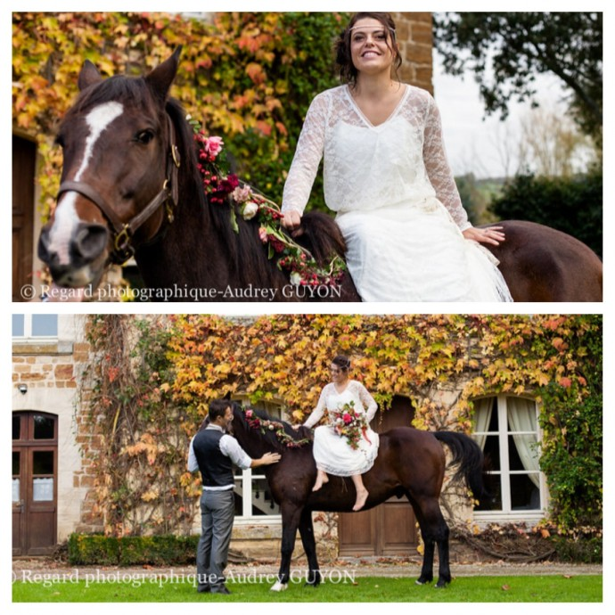 mariee a cheval equestre mariage automne