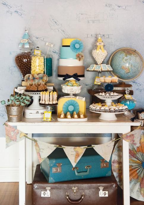 sweet table mariage invitation au voyage globe