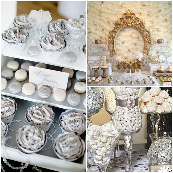 sweet table mariage or argente