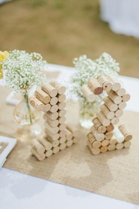 bouchons de liege pour numero de table au mariage