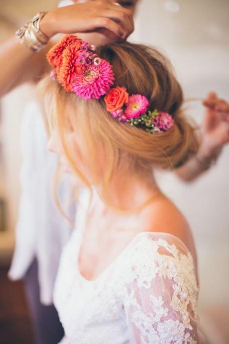 couronne de fleurs pour la mariee