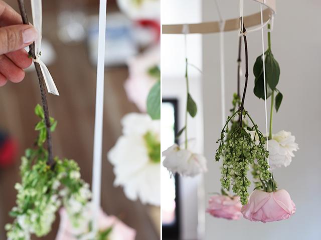 diy chandelier fleurs 4