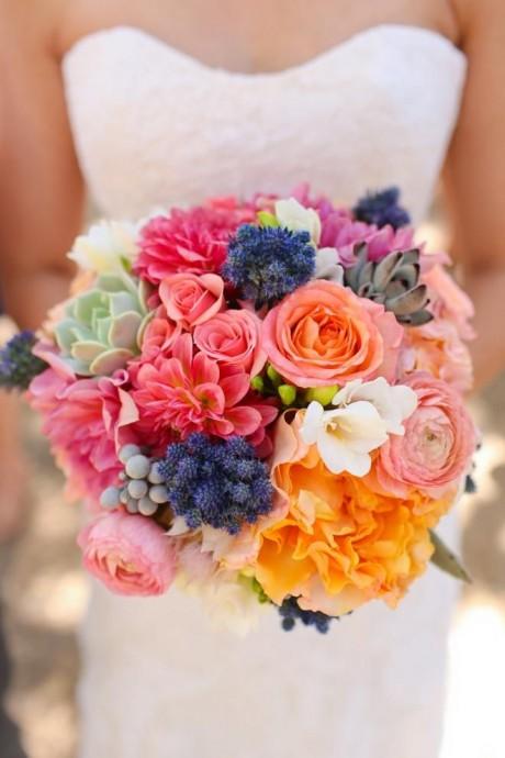 bouquet de mariee colore