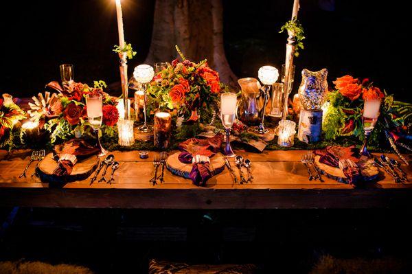 chemin de table mariage theme fees des bois