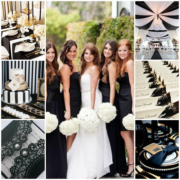 montage mariage thème black and white