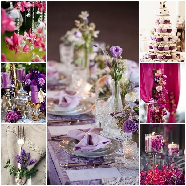 montage mariage violet lavande fuchsia