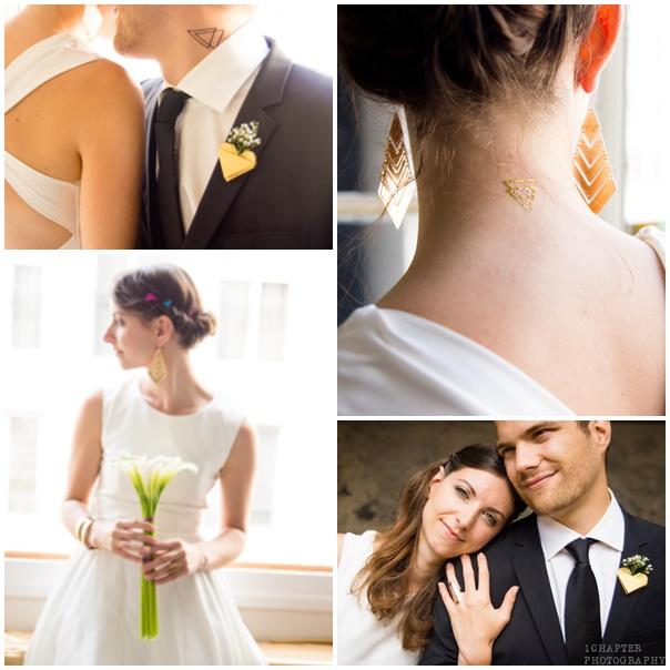 tenues maries mariage geometrique