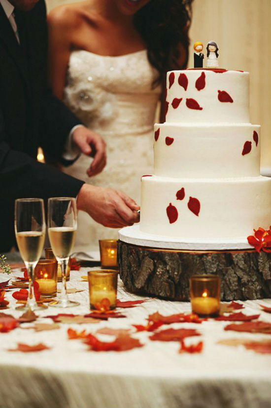 Gateau de mariage feuille sechee 1