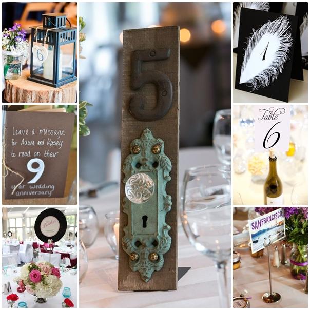 Montage idées pour porter nom de table mariage