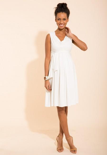 Simple et distinguée ! Envie de Fraise présente Nymphéa, une robe fluide à la taille marquée. La ceinture discrète juste au-dessus du ventre est idéale pour mettre en valeur votre ventre tout en donnant de la fluidité.