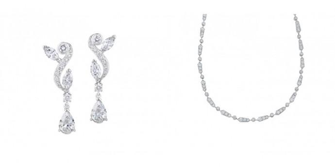 Boucles d'oreilles Adonis Rose, Prix : 16 400 € et Collier Adonis Rose, Prix : Collier Frost Un Rang, Prix : 27 600 €
