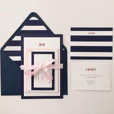 invitation de mariage navy pink