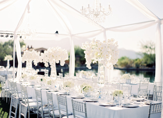 ... des perles de pluies sur les tables des fleurs blanches dans des vases