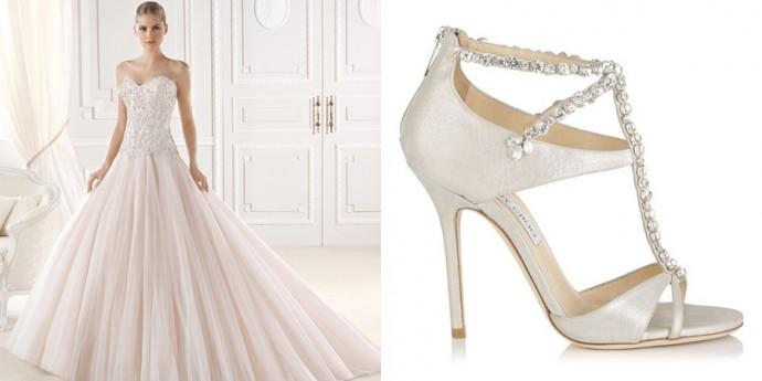 Robe de mariée Eresa Collection Glamour 2015, La Sposa, Prix : N.C et Sandales Jimmy Choo Modèle Faiza, Prix : 1 095 €