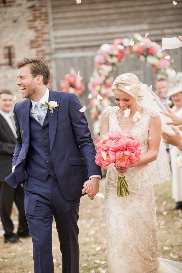 Robe mariage rose et bleu
