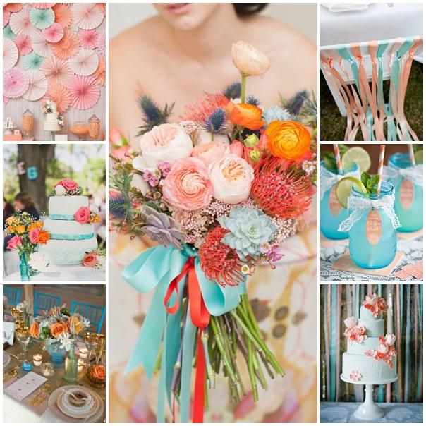 couleurs de mariage idées décoration mariage bleu et corail thème ...