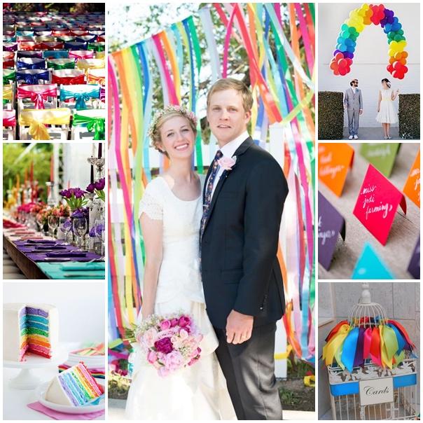 montage mariage theme rainbow