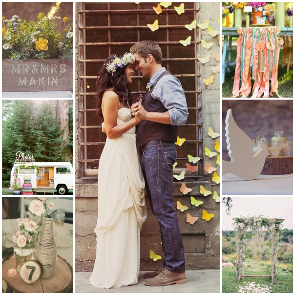 montage mariage theme woodstock