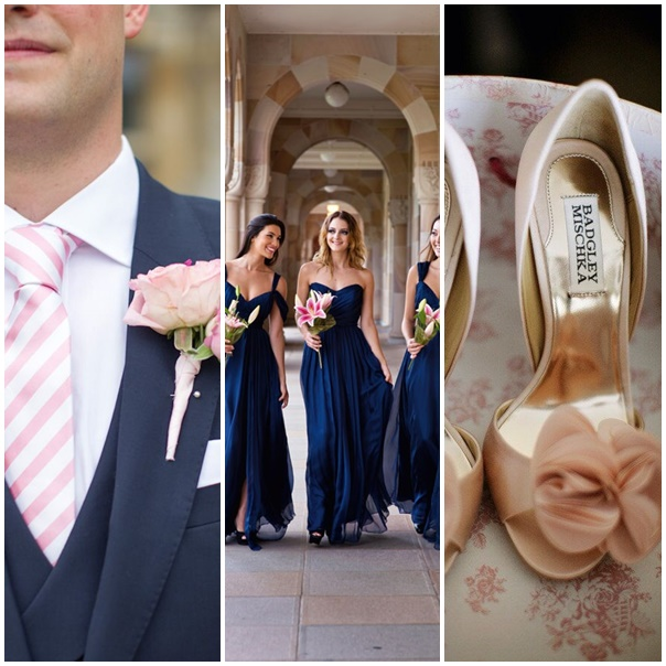 montage photo tenues de maries mariage navy pink