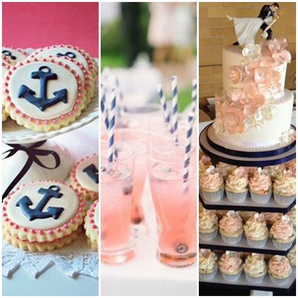 montage photos wedding cake mariage navy and pink
