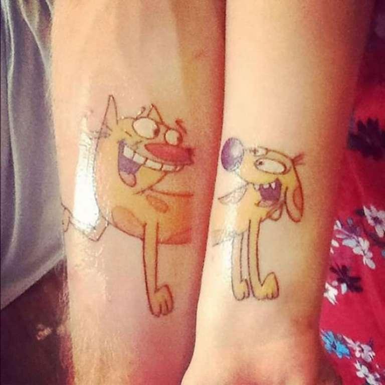 tatouage couple chien et chat