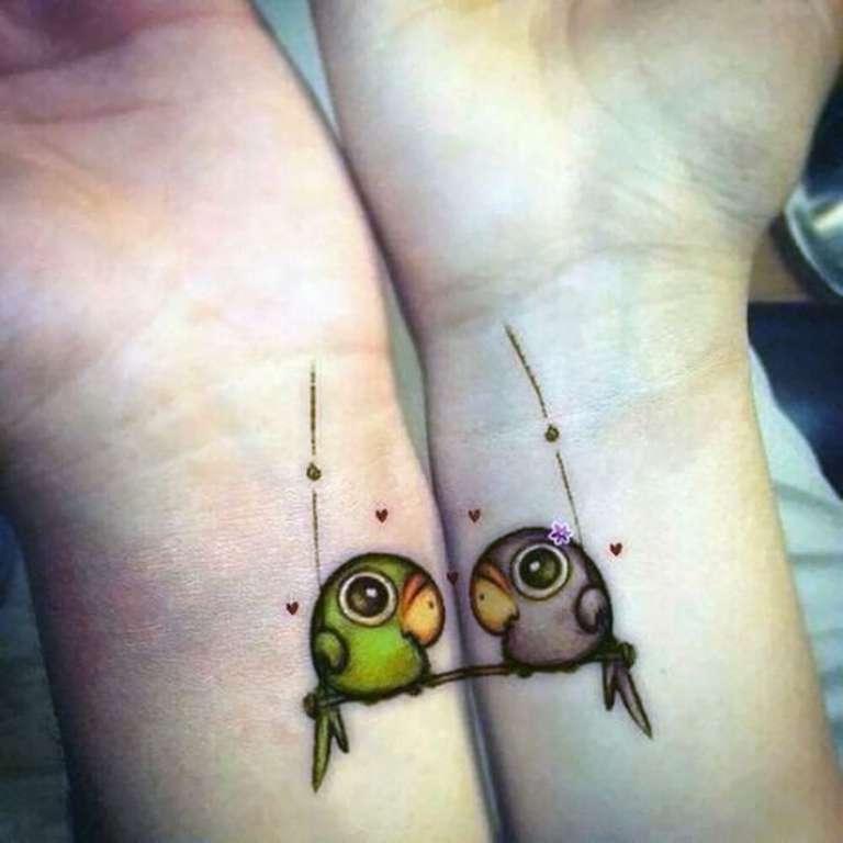 tatouage couple oiseaux