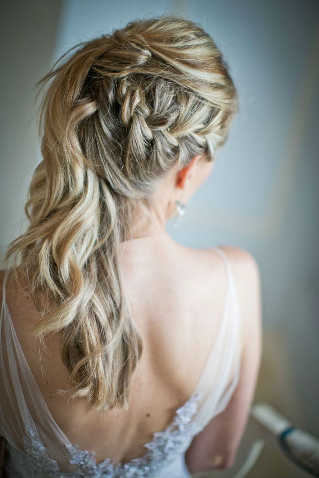 Homecoming hairstyles half up curly with braid 2017