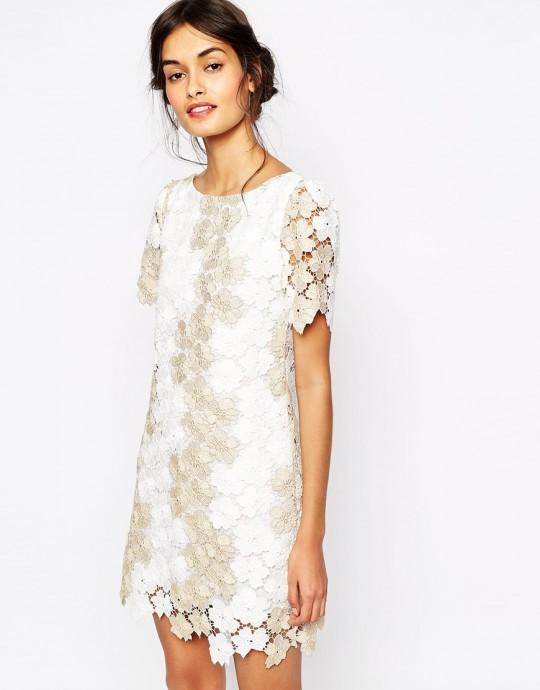 asos, Soma London - Heavy - Robe droite en dentelle crochetée effet metallise, 197,99, code656070