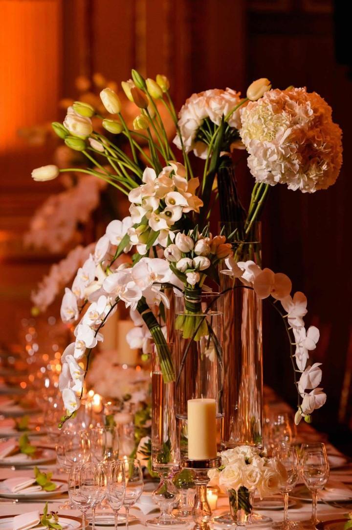 centres de table orchidées mariage