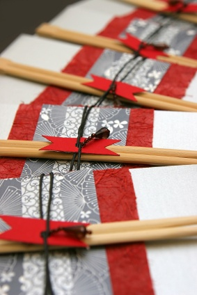 Formal Japanese invitations laid out in line