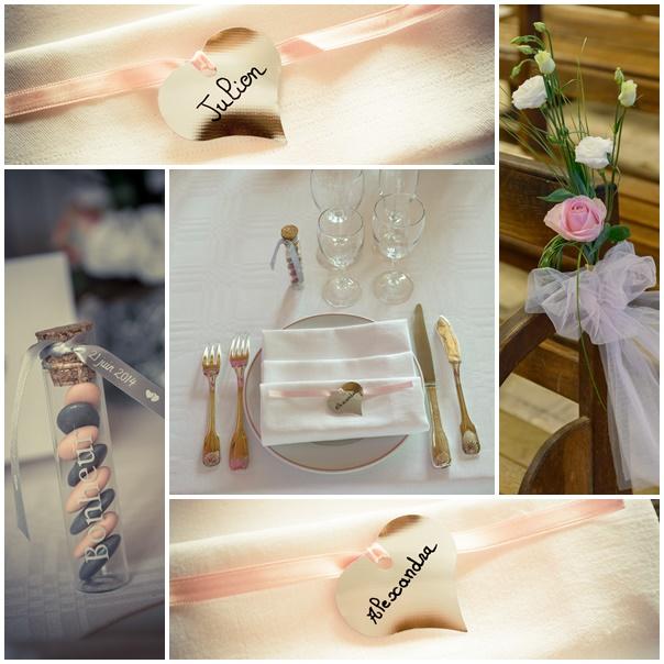 montage decoration mariage bretagne et romantique rose et argent alexandra et julien