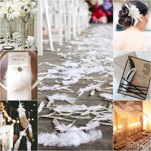 montage photos mariage plumes