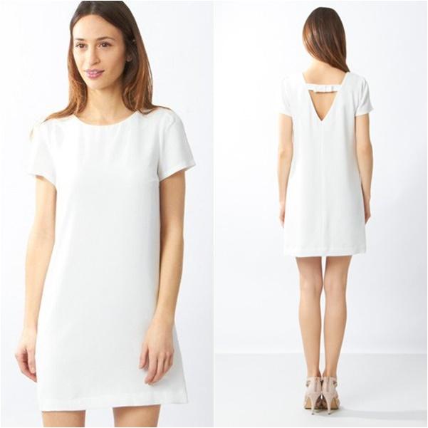 Pour dévoiler votre joli dos, optez pour cette robe coupe droite et son petit nœud très féminin dans le dos. Robe JALLY, Etam, au prix mini de 39,95 €.  Réferences : 646099402